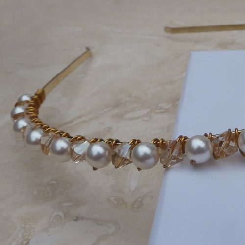 Gold Crystal and Glass Pearl Headband
