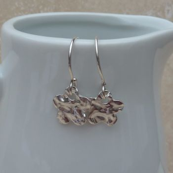 Fine Silver Small Hammered Flower Drop Earrings