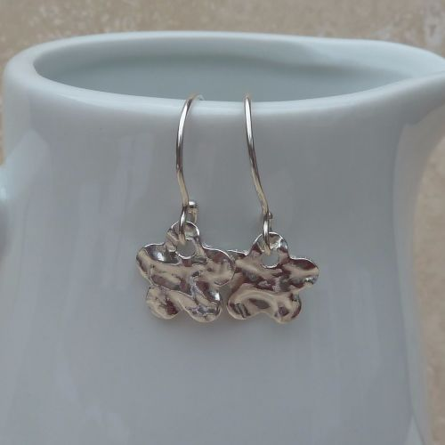 Fine Silver Small Hammered Flower Earrings