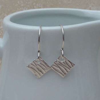 Fine Silver Small Patterned Diamond Earrings
