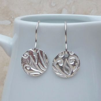 Fine Silver Patterned Disc Earrings