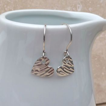 Fine Silver Small Textured Heart Earrings
