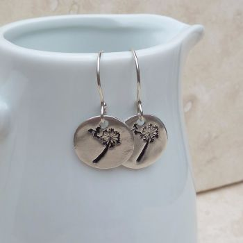 Fine Silver Dandelion Wishes Hand Stamped Drop Earrings