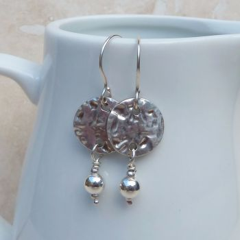 Fine Silver Hammered Disc and Ball Drop Earrings
