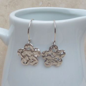 Fine Silver Hammered Flower Earrings