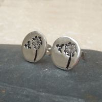 Fine Silver Dandelion Stud Earrings