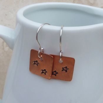 Copper and Sterling Silver Hand Stamped Star Earrings