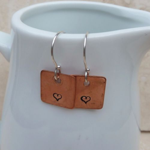 Copper and Sterling Silver Hand Stamped Heart Earrings