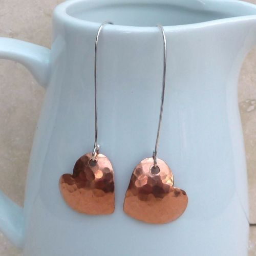 Large Hammered Copper Heart Earrings