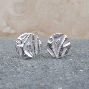 Small 8 mm Sterling Silver Patterned Stud Earrings