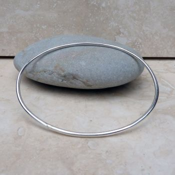 Sterling Silver Polished Oval Bangle