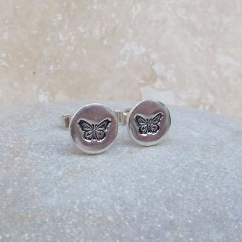 Fine Silver 8mm Round Butterfly Stud Earrings
