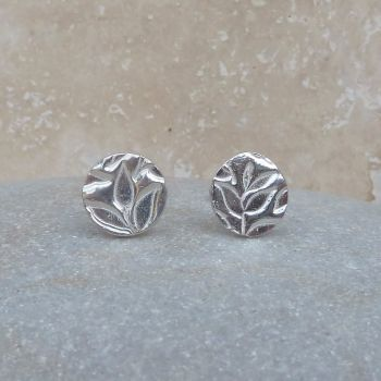 Fine Silver Leaf Patterned 8 mm Round Stud Earrings