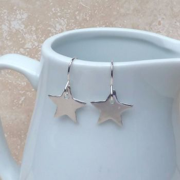 Fine Silver Polished Star Charm Earrings