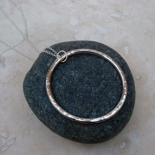 Sterling Silver Long Hammered Ring Pendant