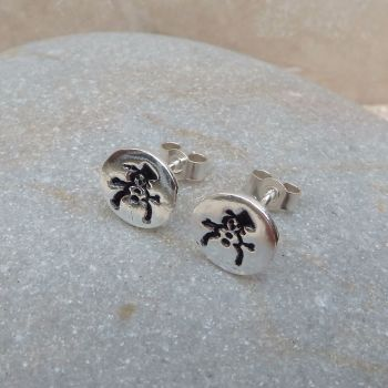 Silver Snowman Stud Earrings