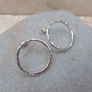 Large Hammered Ring Stud Earrings