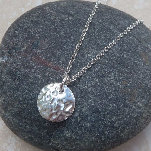 Fine Silver Hammered Domed Disc Pendant