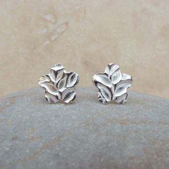 Fine and Sterling Silver Flower and Leaves Stud Earrings