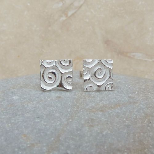 Fine and Sterling Silver Square and Spiral Stud Earrings