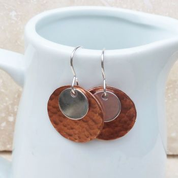 Copper and Sterling Silver Hammered Disc Earrings
