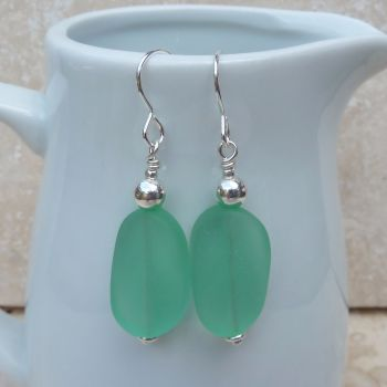 Green Glass Drop and Sterling Silver Earrings