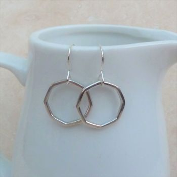 Sterling Silver Octagon Hoop Earrings