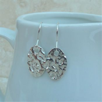 Fine Silver Hammered Oval Drop Earrings