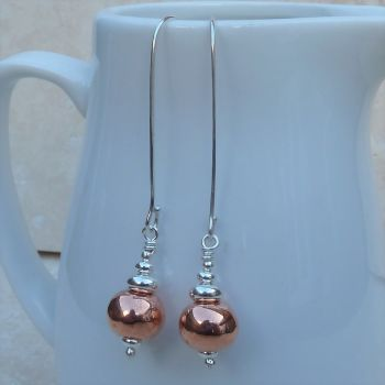Long Copper Ball and Sterling Silver Earrings