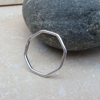 Sterling Silver Octagon Ring Band - Made to Order