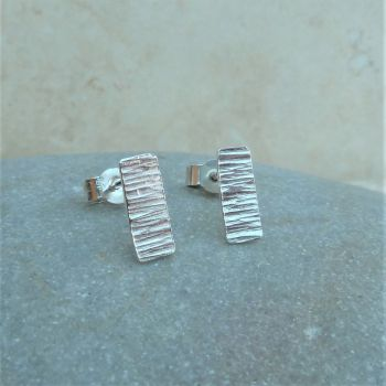 Sterling Silver Rectangle Hammered Stud Earrings