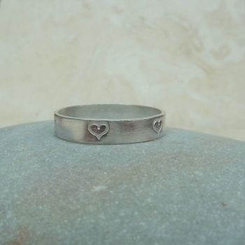 Sterling Silver 4 mm Ring Band with Hand Stamped Heart Detail