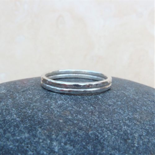 Sterling Silver Hammered Double Ring Band - Size R