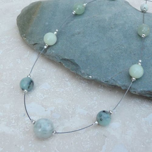 Green Jade and Aventurine Floating Necklace