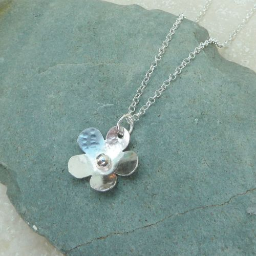 Sterling Silver Hammered Flower Necklace