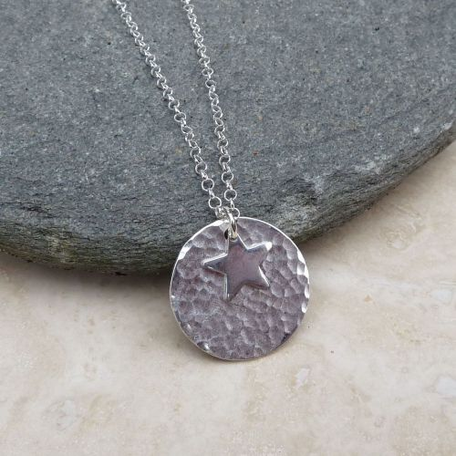 Sterling Silver 20 mm Hammered Disc and Star Pendant