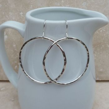 Sterling Silver Large Hammered Hoop Earrings