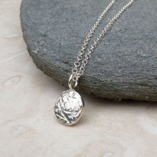 Sterling Silver Hammered Pebble Necklace