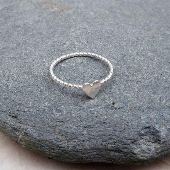 Silver Beaded Wire Heart Ring - Made to Order