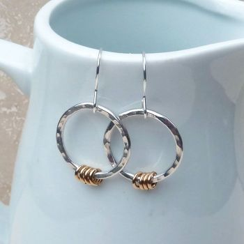 Sterling Silver and 9ct Gold Filled Hammered Hoop Earrings