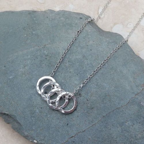 Sterling Silver Four Hammered Ring Necklace