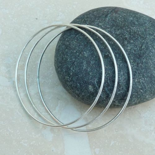 Sterling Silver Oval Bangle Set (Set of Three)