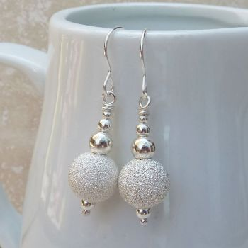 Sterling Silver Stardust Bead Earrings