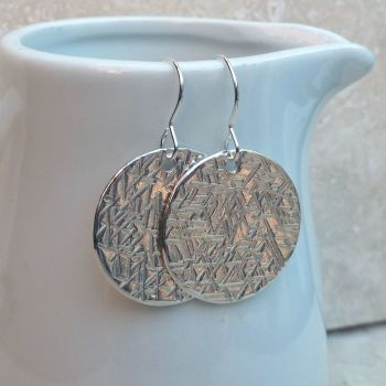 Sterling Silver Large Hammered Earrings