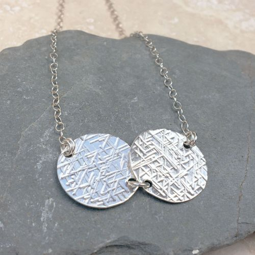 Sterling Silver Hammered Double Disc Necklace