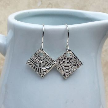 Fine Silver Patterned Diamond Drop Earrings