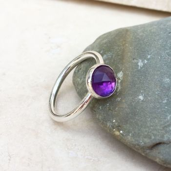 Sterling Silver and Amethyst Faceted Ring - Size N
