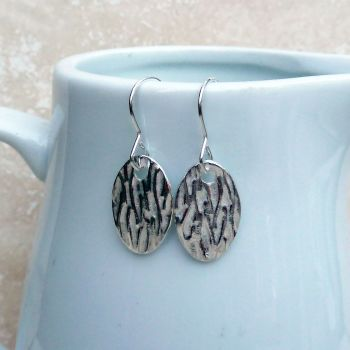 Fine Silver Patterned Oval Drop Earrings