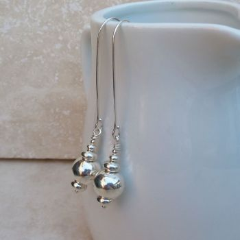 Sterling Silver Long Bead Earrings
