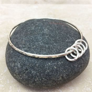Sterling Silver Hammered Ring Charm Bangle